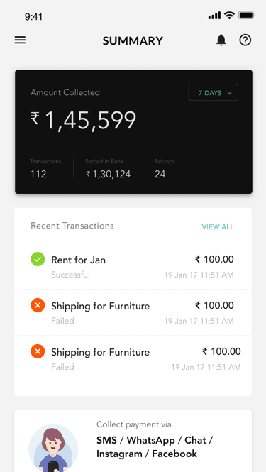 Manage transactions on the go